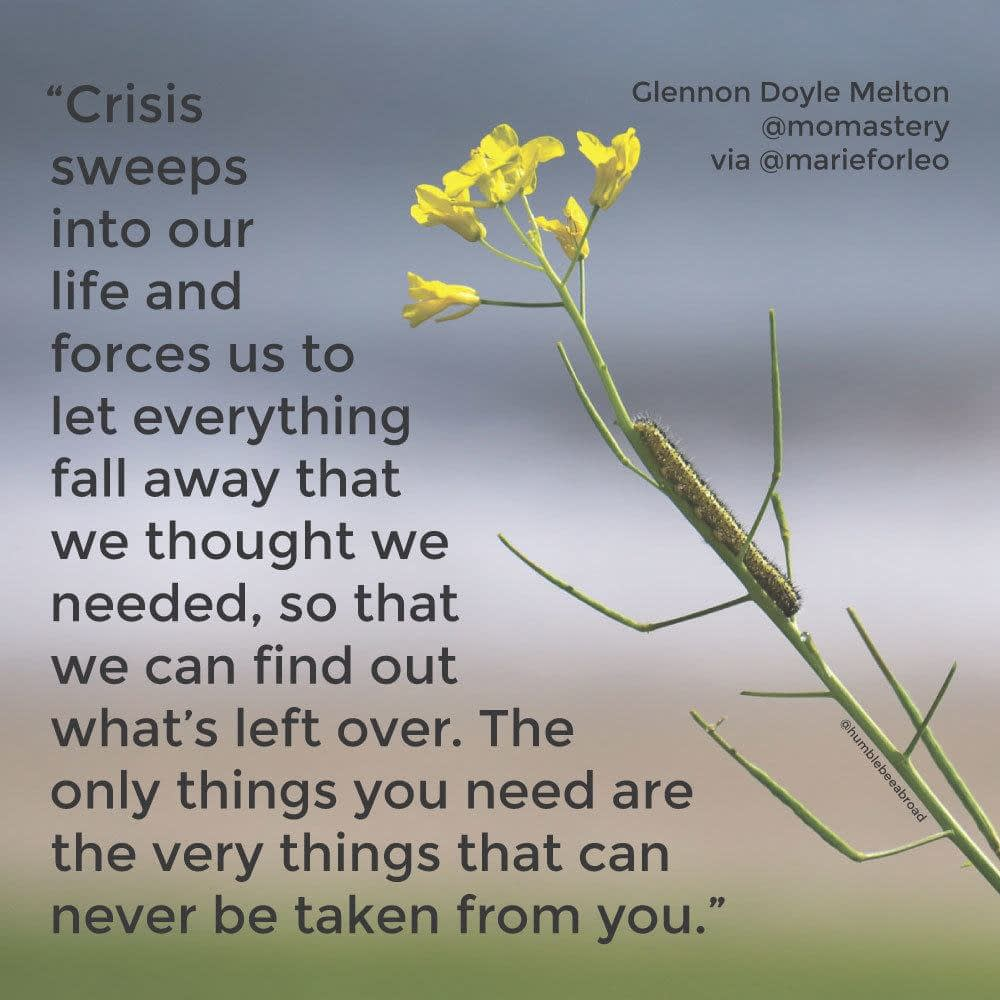 Crisis sweeps into our life and forces us to let everything fall away that we thought we needed, so that we can find out what's left over. The only things you need are the very things that can never be taken from you.